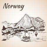 Noorwegen - haven, waterkant Schets, stock illustratie