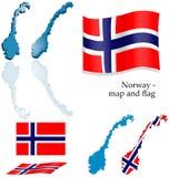 Noorwegen - kaart en vlagreeks Royalty-vrije Stock Foto's