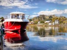 Noorwegen, Lofoten-Eilanden, de Bergenfjorden van het Kustlandschap Stock Afbeeldingen