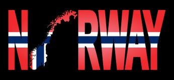 Noorwegen met kaart op vlag vector illustratie