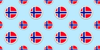 Noorwegen om vlag naadloos patroon Noorse achtergrond Vectorcirkelpictogrammen Geometrische symbolen Textuur voor Norse vector illustratie