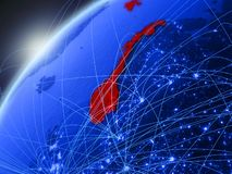 Noorwegen op blauwe Aarde met netwerk vector illustratie