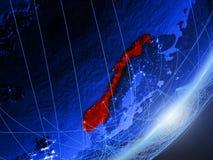 Noorwegen op blauwe blauwe digitale Aarde vector illustratie