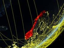Noorwegen op donkere Aarde met netwerk stock illustratie