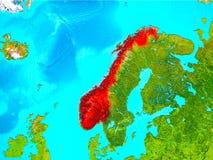 Noorwegen in rood ter wereld vector illustratie