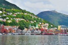 noorwegen Stad-mening van Bergen Stock Foto