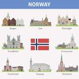 Noorwegen. Symbolen van steden vector illustratie
