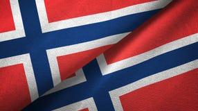 Noorwegen twee vlaggen textieldoek, stoffentextuur stock illustratie