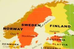 Noorwegen, Zweden en Finland op kaart Royalty-vrije Stock Afbeelding