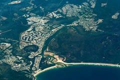 Noosa头鸟瞰图  澳洲海岸阳光 免版税图库摄影