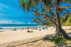 NOOSA, AUSTRALIA, FEB 17 2018: People enjoying summer at Noosa m. Ain beach - a famous tourist destination in Queensland, Australia stock photography