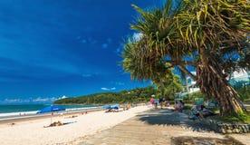 NOOSA AUSTRALIEN, FEBRUARI 17 2018: Folk som tycker om Noosa den huvudsakliga stranden Fotografering för Bildbyråer