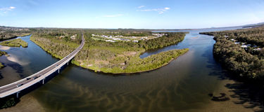 Aerial Noosa Heads Wetlands. Noosa Heads Panoramic Aerial Photograph featuring Wetlands, Weyba Creek & Monks Bridge. Sunshine Coast Stock Photos