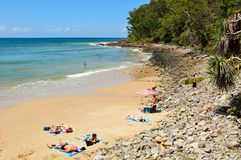 Noosa Little Cove beach in Noosa, QLD. Noosa, Queensland, Australia - December 18, 2017. Noosa Little Cove beach in Noosa, QLD, with people royalty free stock images