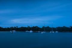 Noosa river. In the night.motion blur Queensland, Australia stock photos