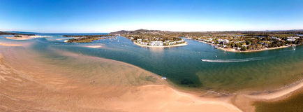 Noosa River Aerial. Aerial panorama photograph of Noosa River in Noosa Heads, Sunshine Coast, Queensland. Featuring Gympie terrace, Noosaville, shopping, boating Royalty Free Stock Image