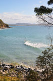 Noosa Surfing Beac - Queensland, Australia. Golden sands, perfect surfing waves  and Gum trees. The view from the Noosa National Park walking track, Sunshine Royalty Free Stock Images