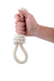 Noose. White rope noose isolated on white Stock Photo