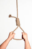 Noose in hands on white background Stock Photography