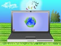 nootebook экологичности иллюстрация вектора