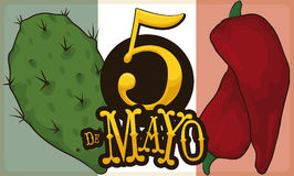 Nopal and Chili Pepper for Mexican Cinco de Mayo Celebration, Vector Illustration. Banner with representative elements of Mexican cuisine: nopal and chili pepper