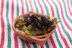 Nopales con el escarabajo, comida mexicana Imagen de archivo libre de regalías