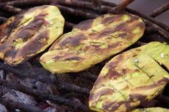 Nopales op de grill stock afbeeldingen