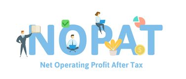 NOPAT, Net Operating Profit After Tax. Concept with keywords, letters and icons. Flat vector illustration. Isolated on vector illustration