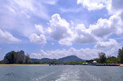 Nopparat Thara pier in the estuary of the river next to Ao Nang Stock Image