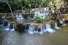 Noppiboon Waterfall in Sangkhla Buri District, Kanchanaburi Province, Thailand. Royalty Free Stock Photos