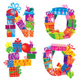 NOPQ - english alphabet - letters are made of gift Stock Photo