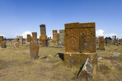 Noratus古老公墓在亚美尼亚 库存图片