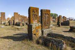 Noratus古老公墓在亚美尼亚 库存照片