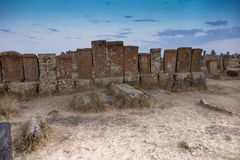 Noratus,亚美尼亚, 2017年9月18日:娜拉历史公墓  库存图片
