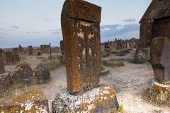 Noratus,亚美尼亚, 2017年9月18日:娜拉历史公墓  库存照片
