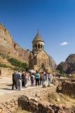 Noravank修道院,亚美尼亚- 2017年9月18日:著名Noravan 免版税库存照片