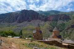Noravank complex in Vayots Dzor Province, Armenia. Noravank is a 13th-century Armenian monastery, located 122 km from Yerevan in a narrow gorge made by the stock photography