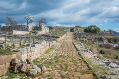Norba, antyczny miasteczko Latium na zachodniej krawędzi Monti Lepini, Latina prowincja, Lazio, Włochy zdjęcie royalty free