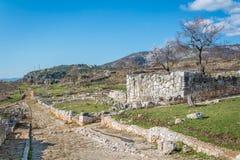 Norba forntida stad av Latium på den västra kanten av Monti Lepini, Latina landskap, Lazio, Italien Royaltyfri Fotografi