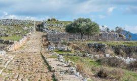 Norba forntida stad av Latium på den västra kanten av Monti Lepini, Latina landskap, Lazio, Italien Arkivbilder