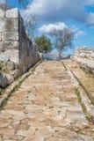 Norba forntida stad av Latium på den västra kanten av Monti Lepini, Latina landskap, Lazio, Italien Royaltyfri Bild