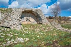 Norba forntida stad av Latium på den västra kanten av Monti Lepini, Latina landskap, Lazio, Italien Arkivbild