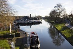 Canal Barges and buildings at Norbury Junction in Shropshire, United Kingdom. Norbury Junction, Shropshire.  United Kingdom.  10th January 2018.  Barges and Stock Image