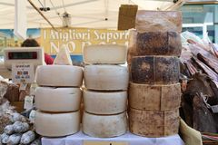 Norcia Cheese. MANZIANA, LAZIO, ITALY - OCTOBER 14, 2017: Famous Italian Norcia cheese and salami in street stall at the most popular and awaited local events Royalty Free Stock Photos
