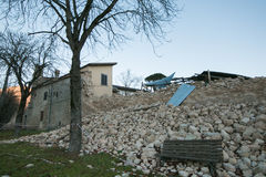 Norcia city destroyed by earthquake Royalty Free Stock Photography