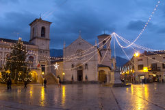 Norcia, Italy. The church of St. Benedict, facing Piazza San Benedetto, in Norcia medieval town. Province of Perugia (Italy Royalty Free Stock Photography