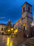 Norcia, Italy. Night shot of medieval town of Norcia. Umbria region, Italy Royalty Free Stock Images