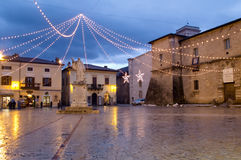 Norcia, Italy. Night shot of medieval town of Norcia. Umbria region, Italy Royalty Free Stock Photo