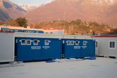 Norcia, Italy Estação do auxílio civil após o terremoto Imagens de Stock