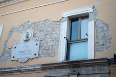 Norcia, Italy. Facade of house after the earthquake Stock Photo